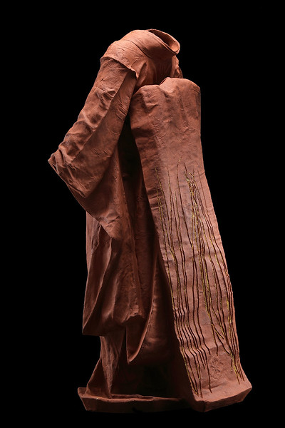 "Maiko is a ceramic life size sculpture of a kimono that looks at cultural perceptions of beauty  47"" x 28"" x 20"" 2010, Ceramic and Gold Leaf"