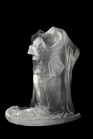 """Life-size kneeling kimono sculpture with absent body called Chado is a contemporary artwork by Karen LaMonte 38"""" x 33"""" x 36"""" 2010, Cast Glass"""