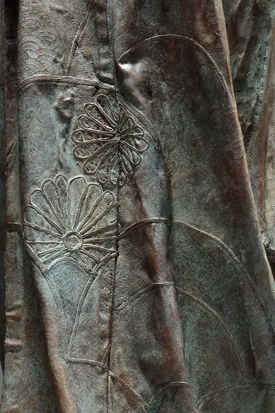 "Detail of bronze kimono sculpture Young Bijin. 46"" x 19"" x 17"""