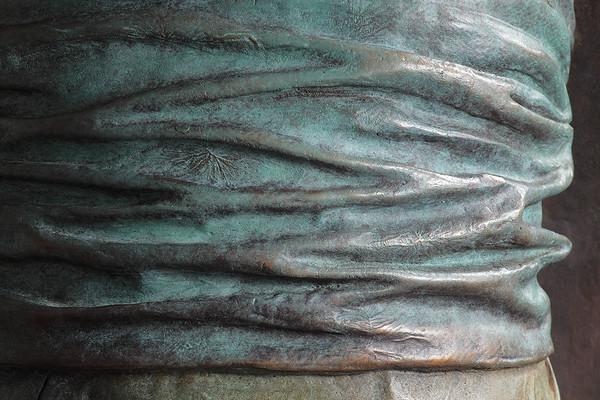 "Detail of bronze sculpture of kimono called Hanako 48"" x 20"" x 17"""