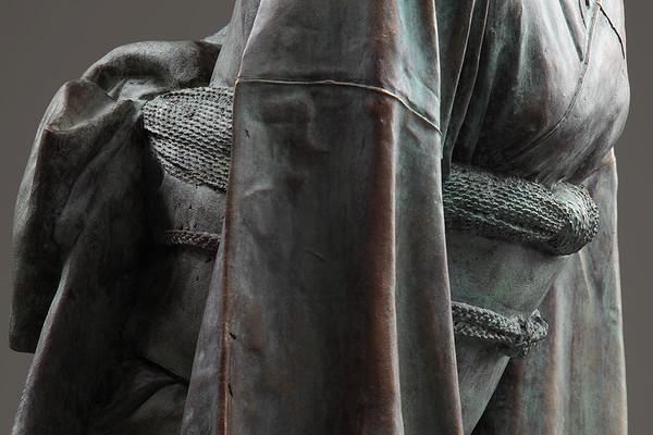 "Detail of a bronze sculpture of a life size  kimono called Ojigi Bowing 51"" x 23"" x 18"" 2010"
