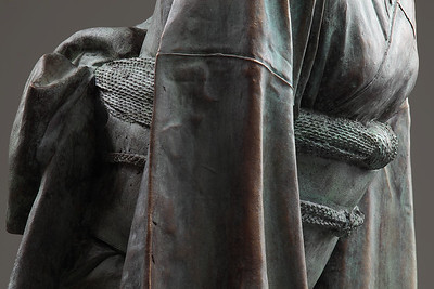 """Detail of a bronze sculpture of a life size  kimono called Ojigi Bowing 51"""" x 23"""" x 18"""" 2010"""