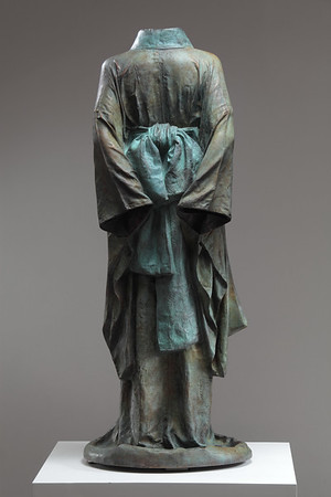 "Artist Karen LaMonte's bronze kimono sculpture Hanako 48"" x 20"" x 17"""