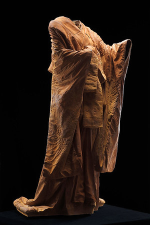 """Kabuki is a sculpture of a kimono in cast iron which asks complex questions about perfection and time. 60"""" x 32"""" x 33"""""""