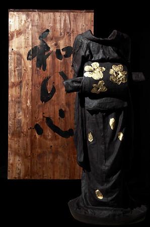 "Geisha kimono sculpture with Tomobako calligraphied wood crate 48"" x 23"" x 17"" 2010"