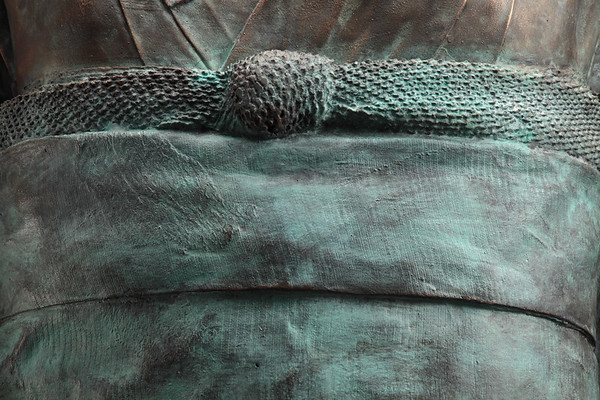 "Detail of a bronze life size kimono sculpture by Karen LaMonte  52"" x 32"" x 22"" 2011"