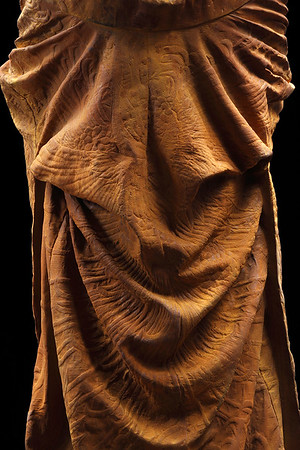 """Detail of Kabuki, a sculpture of a kimono in cast iron which asks complex questions about perfection and time. 60"""" x 32"""" x 33"""""""
