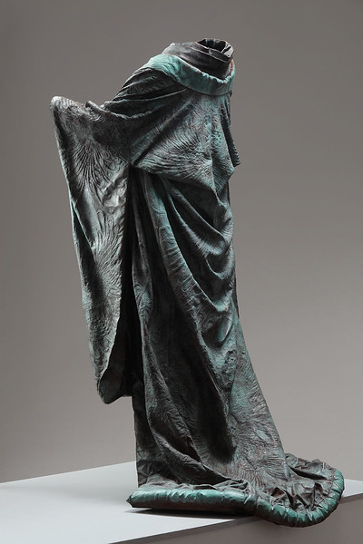 "Kabuki is a bronze life size sculpture of a kimono investing complex ideas of identity 60"" x 32"" x 33"""