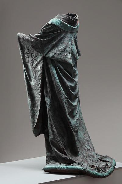 "Kabuki is a bronze life size sculpture of a kimono investing complex ideas of identity 60"" x 32"" x 33"""