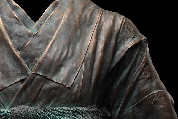 "Detail of Maiko, a bronze life size kimono sculpture by Karen LaMonte  52"" x 32"" x 22"" 2011"
