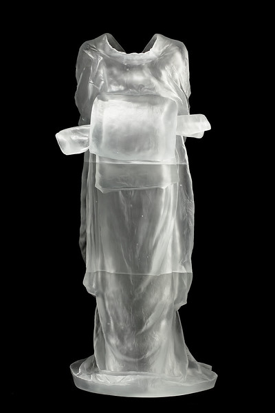 "Geisha a figurative contemporary artwork of a kimono by Karen LaMonte 52"" x 23"" x 18"" 2010, Cast Glass"