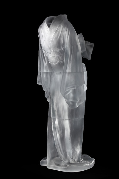 "Cast glass kimono sculpture Ojigi Bowing that explores questions of culture identity perception and self 52"" x 25"" x 18"" 2010"