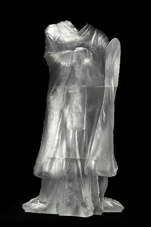"""Kabuki is a sculpture of a kimono asking complex questions about beauty and identity  Cast Glass 60"""" x 32"""" x 33"""""""