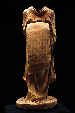 """Artist LaMonte uses the rusted surface of this life-size kimono sculpture to explore the passage of time and imperfect beauty 53"""" x 22"""" x 26"""""""