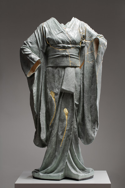 This kintsugi repaired ceramic kimono sculpture is a contemporary artwork examining impermanence