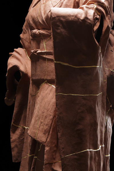 Ceramic Kimono sculpture repaired with Kintsugi explores wabi-sabi
