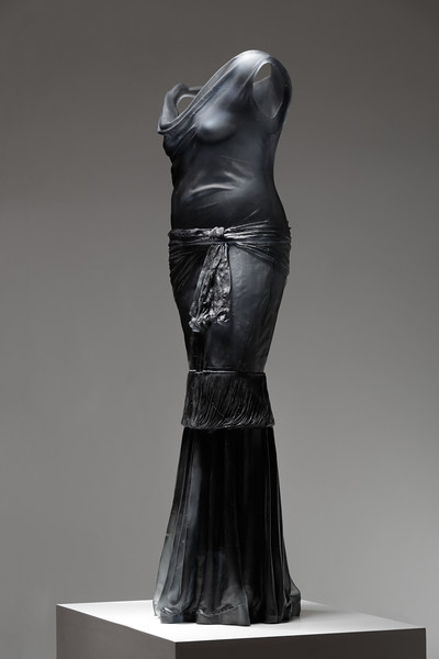 Glass dress without a body — a Nocturne sculpture by LaMonte exploring transition and perception