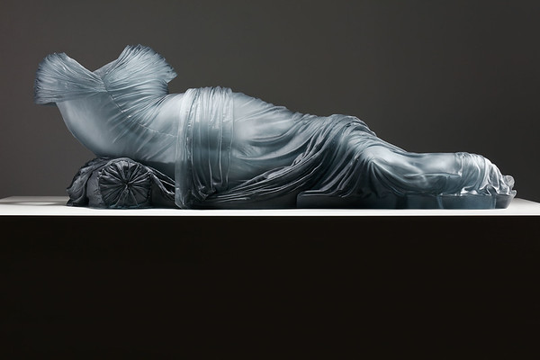 LaMonte's Reclining Nocturne life-size sculpture of an absent female body rendered through a glass dress