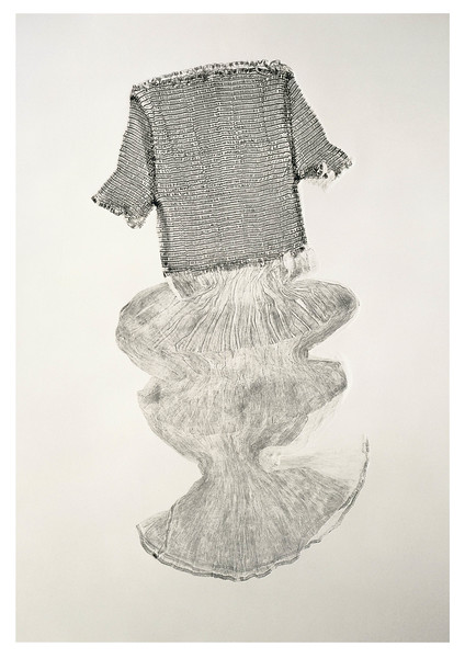 This fine art print is an artwork of a dress made by using a real dress as a printing plate