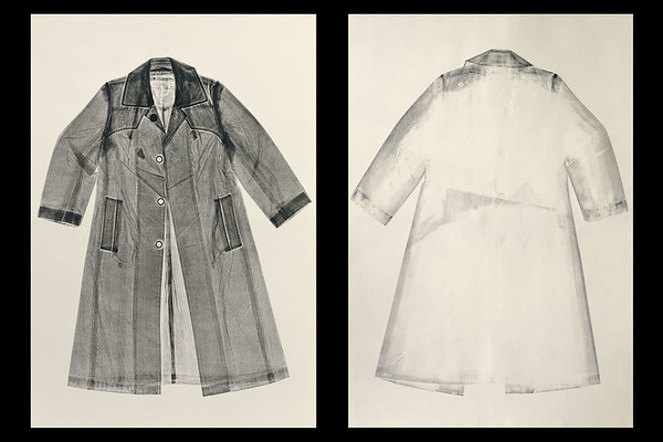 In making this unique artwork of a print of an overcoat, LaMonte's process revealed a secret history captured in the old fabric like the stitch marks left by a long removed lapel patch