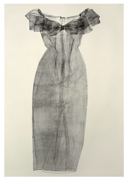 A monotype life-size print a dress that asks questions about being and not being