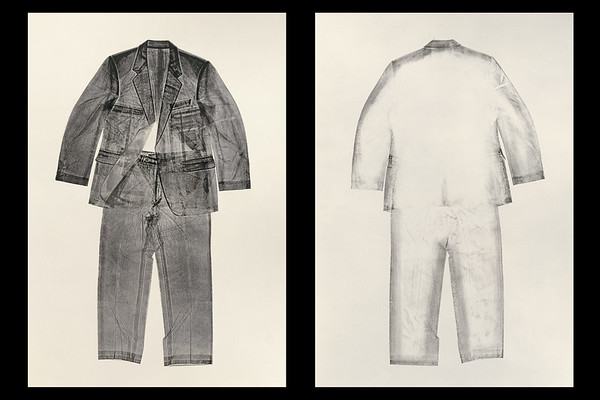 Calligraphic life-size print of suit, an unusual work by artist Karen LaMonte who normally works with female clothing