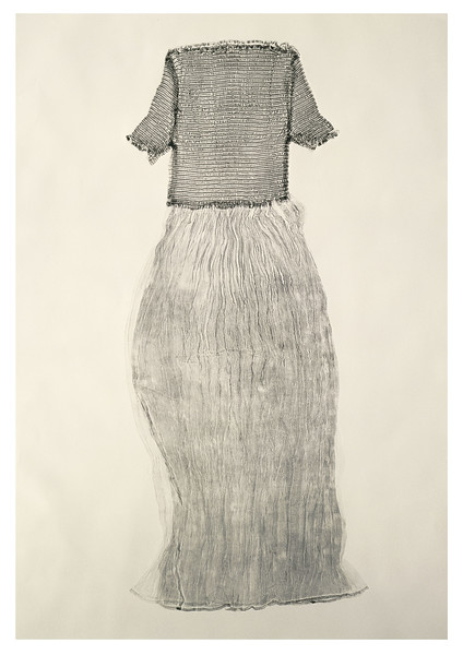Artist Karen LaMonte used a real dress as a printing plate to make this fine art print she calls a Sartoriotype