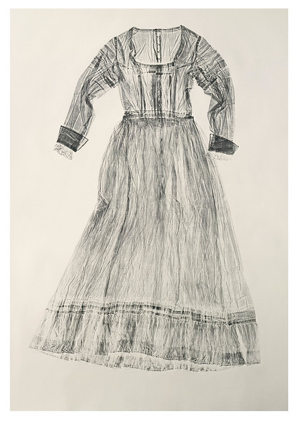 LaMonte's calligraphic prints of a dress is a contemporary artwork investigating fashion, culture and perceptions of beauty
