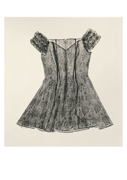 This calligraphic print of a dress made by Karen LaMonte is a life-size contemporary artwork investing fashion and beauty