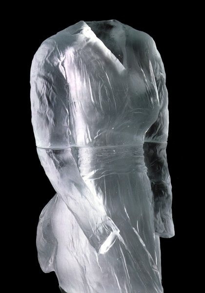 Detail of sculpture called Vestige, a seminal artwork by LaMonte's of monumental cast glass dress