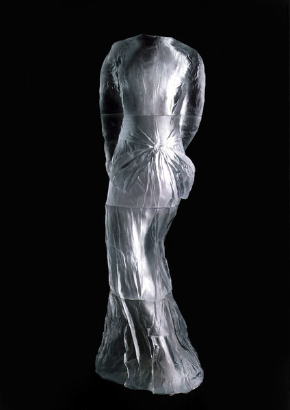 Vestige is LaMonte's first monumental sculpture of a dress in cast glass