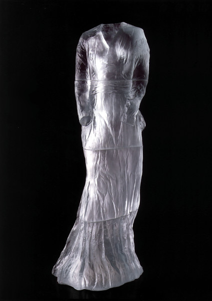 This life-size sculpture of a dress in cast glass is the beginning of LaMonte's complex look at perceptions of self and beauty within society