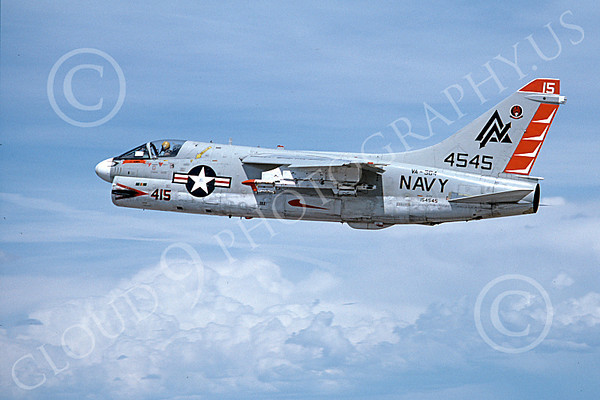 A-7USN 00118 A flying Vought A-7B Corsair II USN 154545 VA-304 FIREBIRDS 5-1980 military airplane picture by Michael Grove, Sr