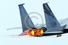 F-15ANG 00014 Close up of engines and tail of a flying McDonnell Douglas F-15 Eagle jet fighter California ANG 80018 144 FW GRIFFONS in full afterburner military airplane picture by Peter J Mancus