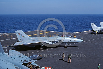 F-14USN-VF-74 0009 A taxing Grumman F-14 Tomcat USN VF-74 BEDEVILERS USS Saratoga 11-1984 military airplane picture by Andy Collins