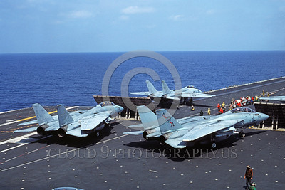 F-14USN-VF-74 0013 A taxing Grumman F-14 Tomcat USN VF-74 BEDEVILERS USS Saratoga 6-1985 military airplane picture by Andy Collins