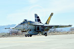 Boeing F-18E-USN 00233 A Boeing F-18E Super Hornet USN 166859 VFA-115 EAGLES commanding officer's airplane USS George Washington NF code with large bombs taxis at NAS Fallon 2-2015 military  ...