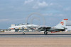 F-14USN-VF-111 0029 A Grumman F-14 Tomcat USN 160666 VF-111 SUNDOWNERS commander's airplane USS Kitty Hawk rolls out on NAS Miramar's runway 2-1979 military airplane picture by Michael Grove, Sr