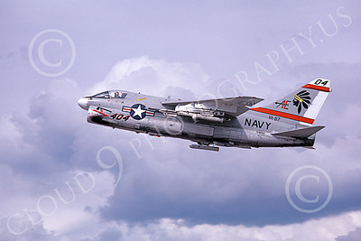 A-7USN 00124 A flying Vought A-7E Corsair II USN 159640 V-87 GOLDEN WARRIORS 5-1980 military airplane picture by Michael Grove, Sr