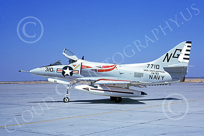 A-4USN 00190 A static Douglas A-4C Skyhawk attack jet US Navy 147710 VA-93 BLUE BLAZERS USS Enterprise NAS Lemoore 4-1967 military airplane picture by Duane A Kasulka