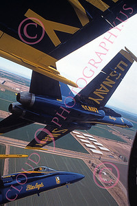 BA-F-18 00046 US Navy McDonnell Douglas F-18 Hornets Blue Angels in flight from inside the diamond 3-1991 airplane picture by Robert L Lawson