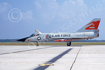 F-106AUSAF 00075 A taxing Convair F-106A Delta Dart USAF 90094 87th FIS RED BULLS Tyndall AFB 9-1972 military airplane picture by Frank MacSorley