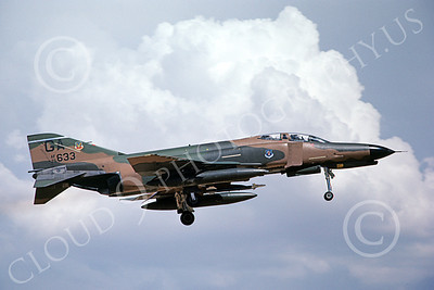 F-4USAF 00350 A landing McDonnell Douglas F-4E Phantom II USAF 75633 GA code 8-1982 military airplane picture by Michael Grove, Sr