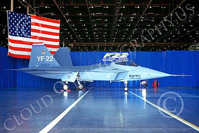 F-22USAF 00497 A static Lockheed Martin YF-22 Raptor N22YF prototype Edwards AFB 8-1990 military airplane picture by Michael Grove, Sr
