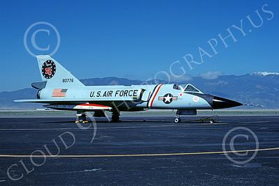 F-106AUSAF 00081 A static Convair F-106A Delta Dart USAF 80776 318th FIS GREEN DRAGONS FREEDOM BIRD BICENTENNIAL Colo Springs 5-1976 military airplane picture by John E Tudek