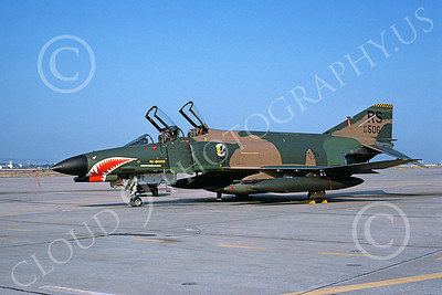 F-4USAF 00101 A static McDonnell Douglas F-4E Phantom II USAF 68506 512 TFS 86th TFW RS code with large SHARKMOUTH RS 7-1983 military airplane picture by Michael Grove, Sr