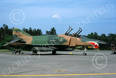 F-4USAF 00227 A static McDonnell Douglas F-4E Phantom II USAF 68480 86th TFW RS code with large SHARKMOUTH Ramstein 6-1983 military airplane picture by Wilfried Zetsche
