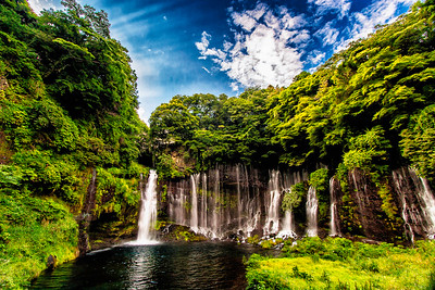 Waterfall near Mount Fuji, Japan.