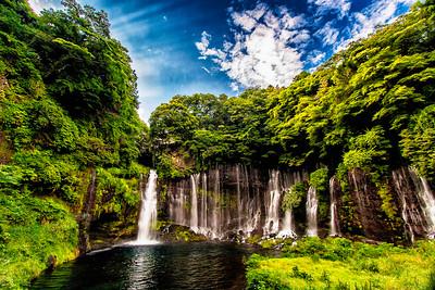 Waterfall near Mount Fuji, Japan.