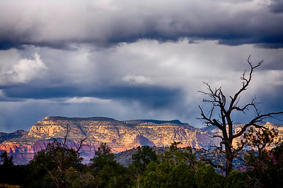 Snow clouds over Sedona, Arizona.
